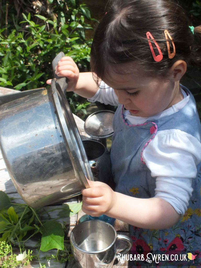 using pots and pans in the garden is a great way to entertain the kids.