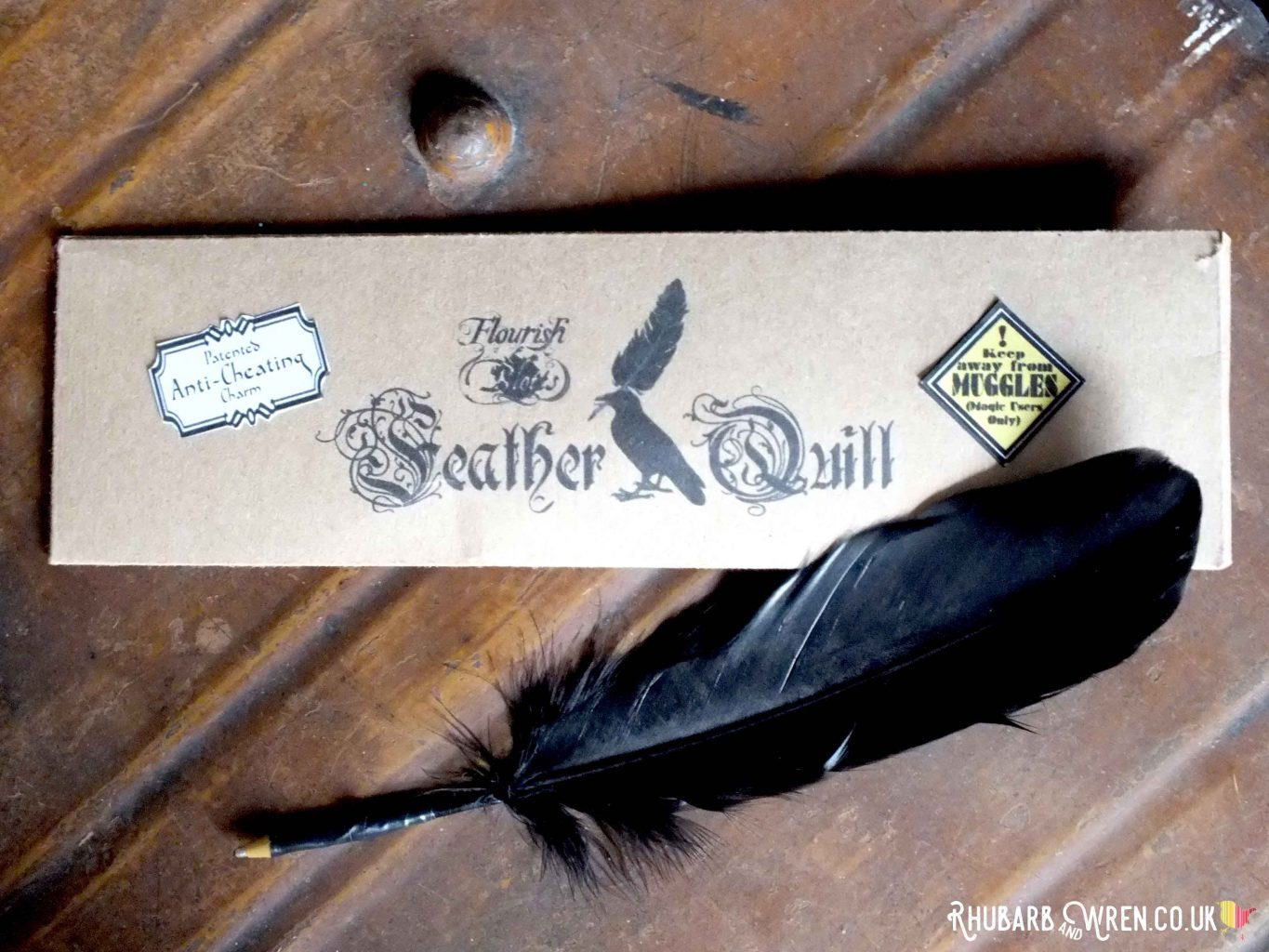 DIY Flourish and Blotts feather quill for a DIY Harry Potter party bag
