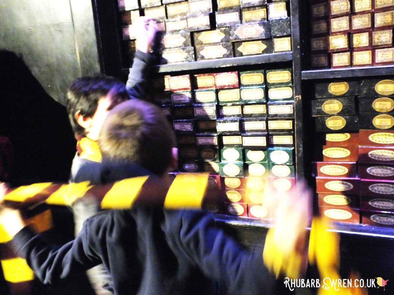 Boys wearing Hogwart's school scarves from a DIY Harry Potter Party Bag, in Olivander's Wand Shop.