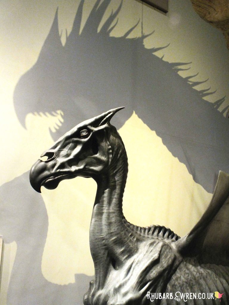 Thestral with a dragon shadow at the Harry Potter studio tour