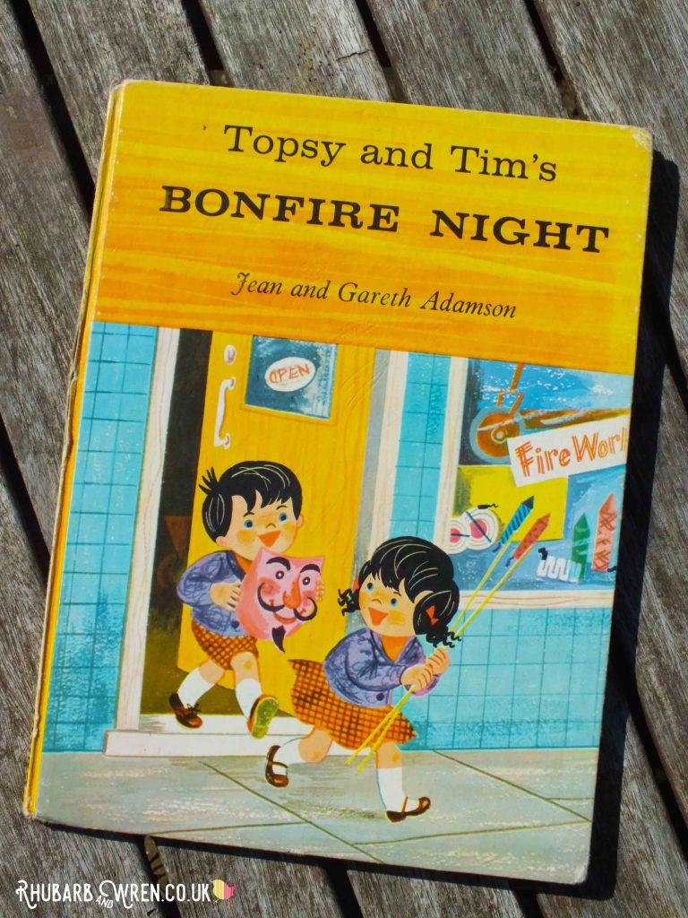 Front cover of vintage children's book Topsy and Tim's Bonfire Night by Jean and Gareth Adamson