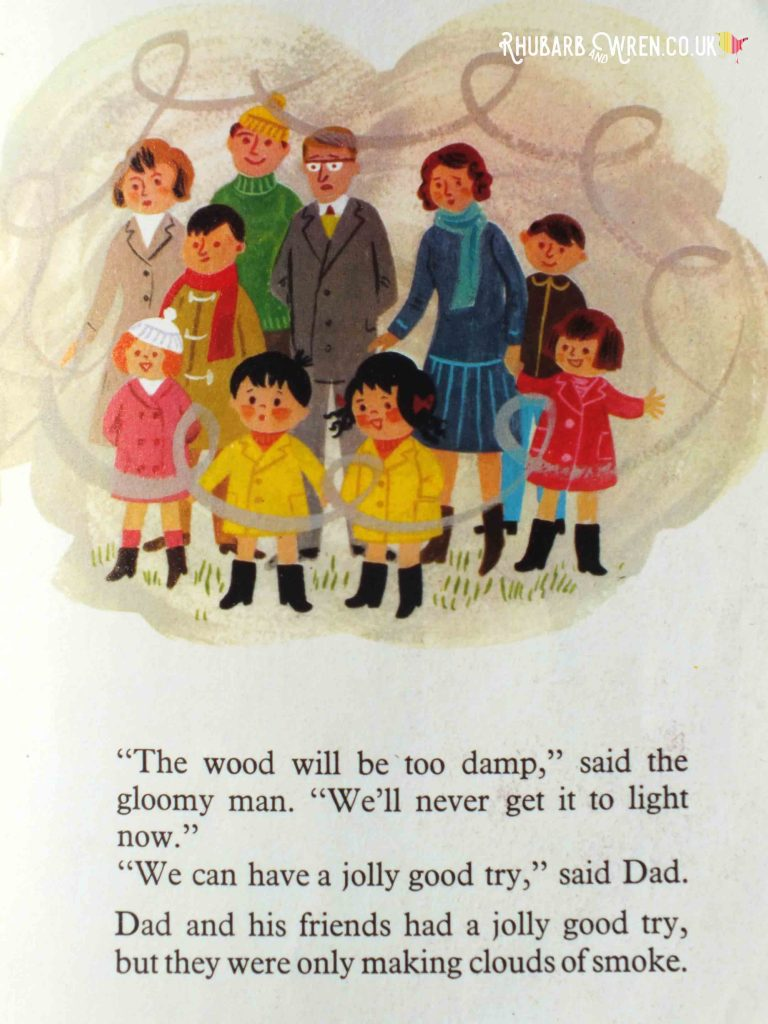 Illustration of crowd waiting for bonfire to be lit, surrounded by smoke, from Topsy and Tim's Bonfire Night