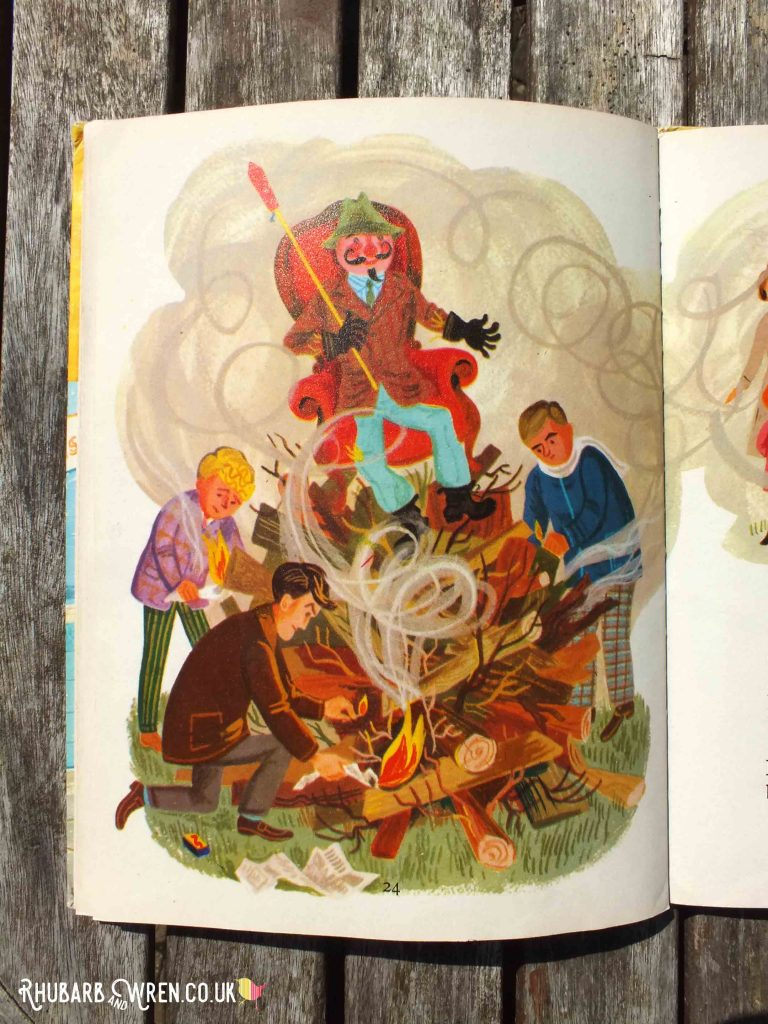 Illustration showing group of men trying to light smoky bonfire topped by Guy sat in chair and holding firework, from book Topsy and Tim's Bonfire Night.