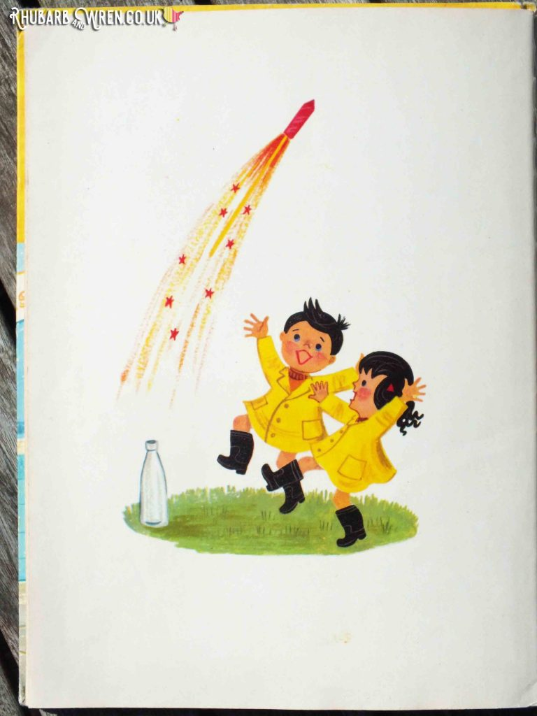 Endpaper of Topsy and Tim's Bonfire Night showing firework exploding out of milk bottle while Topsy and Tim cheer.
