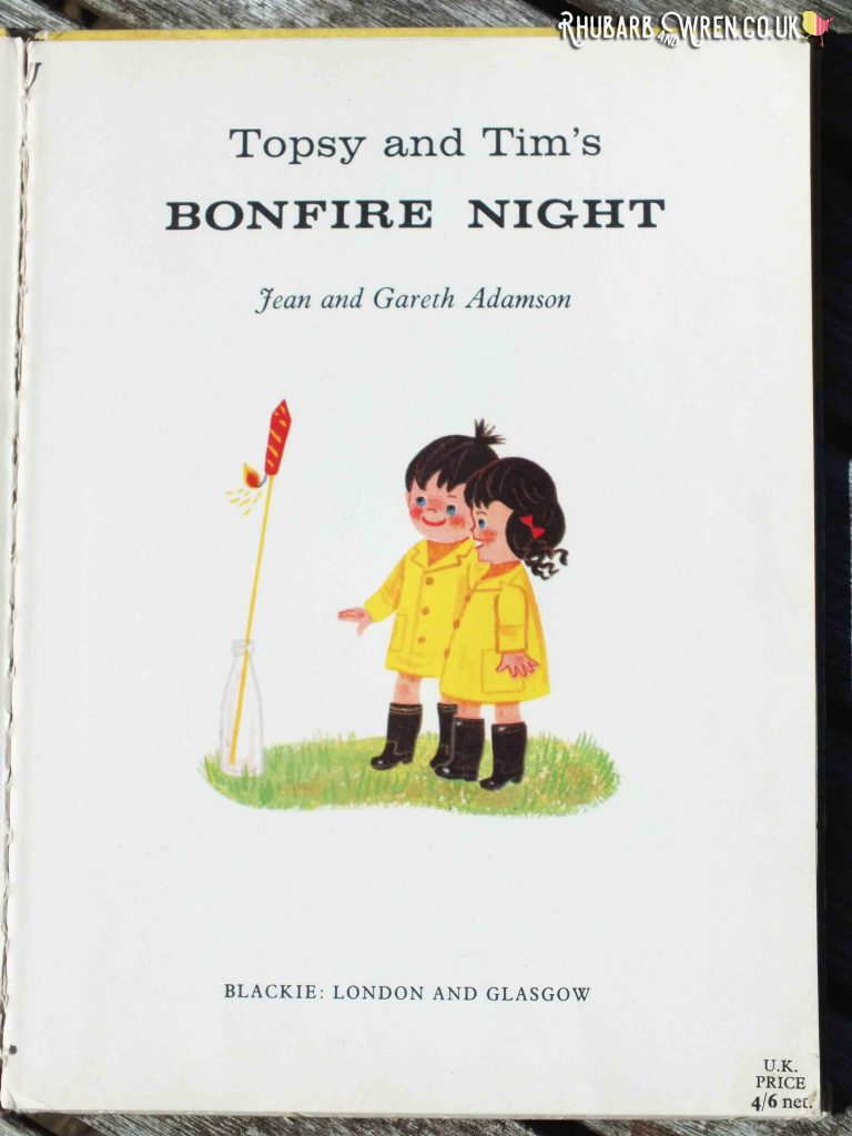Title page of Topsy and Tim's Bonfire Night showing twins looking at firework stood in a bottle.