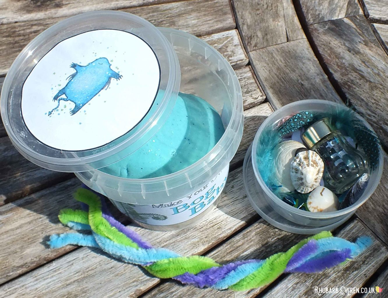 home-made bog baby play dough kit with decorations