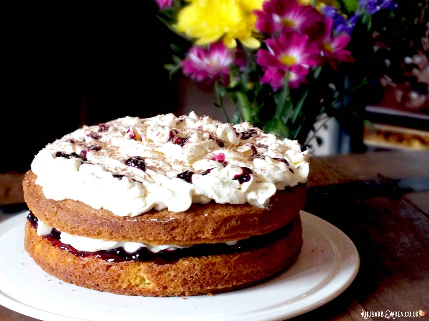 orange and blackcurrant Victoria sandwich cake recipe