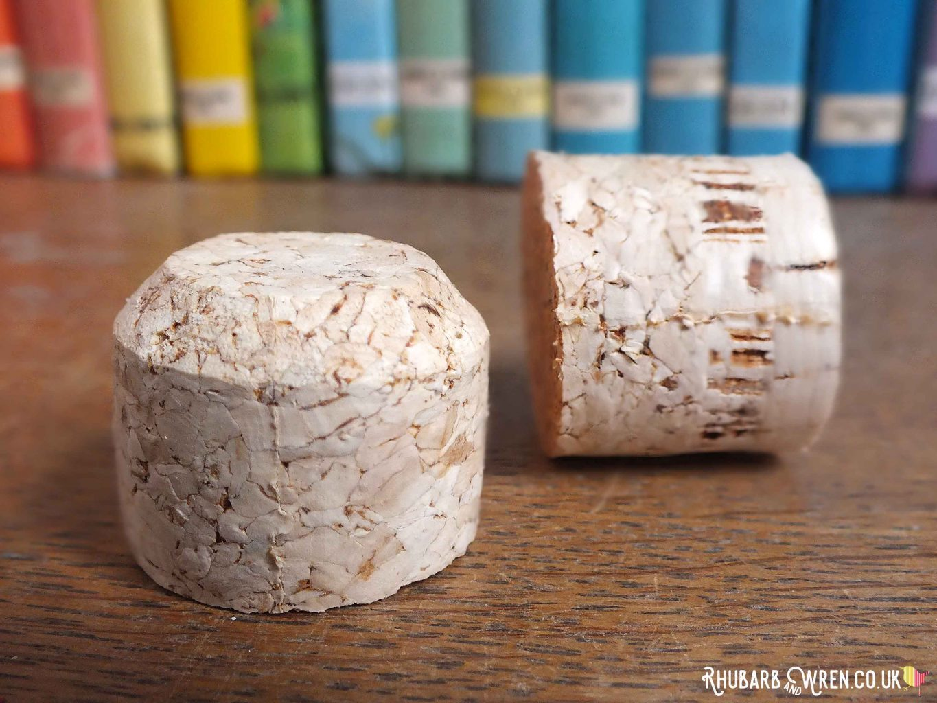 A wine cork cut in half to make doll food