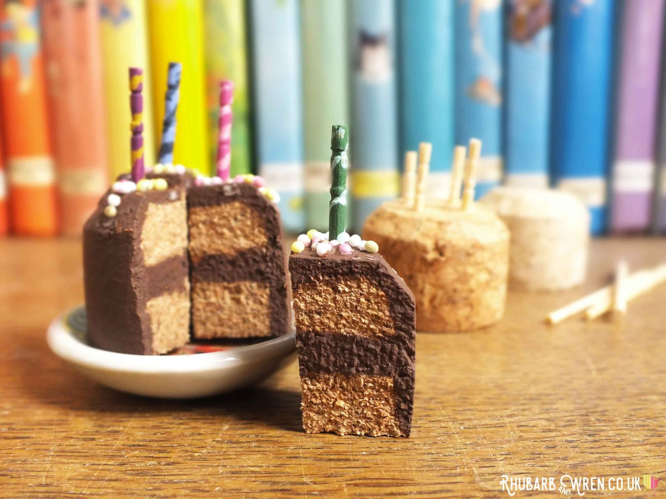 Doll food birthday cake with candles - made from wine cork and toothpicks