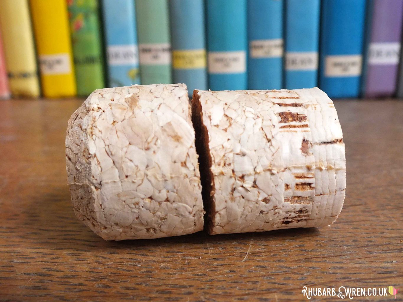 Wine cork cut in two to make doll food