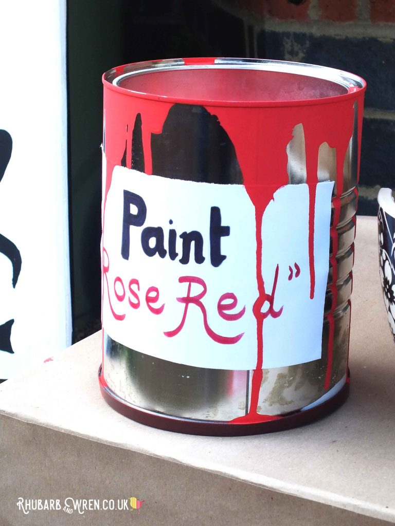 Alice in Wonderland scarecrows - paint tin for playing card gardener