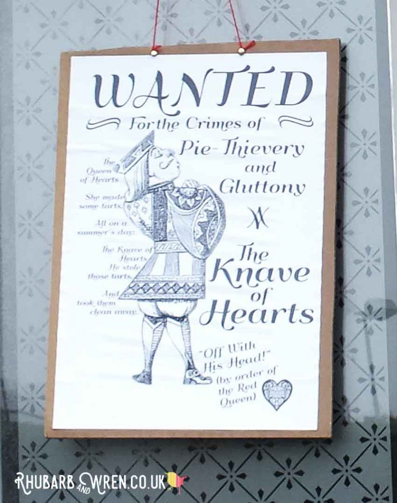 Alice in Wonderland 'Wanted' poster for the Knave of Hearts
