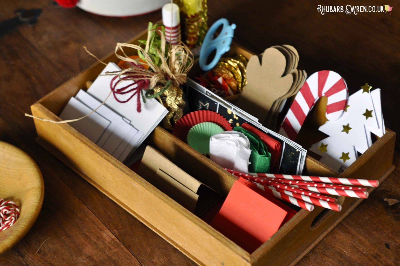 Christmas themed busy box or scissor snip tray