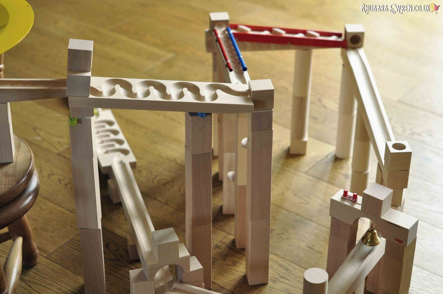 Complicated wooden marble run set up