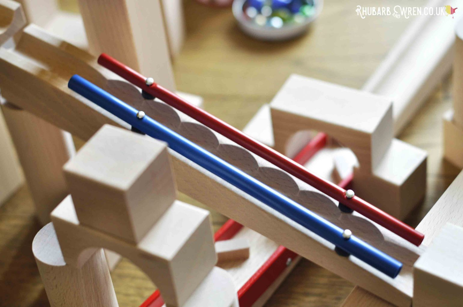 Close-up of chime bars on HABA wooden marble run track