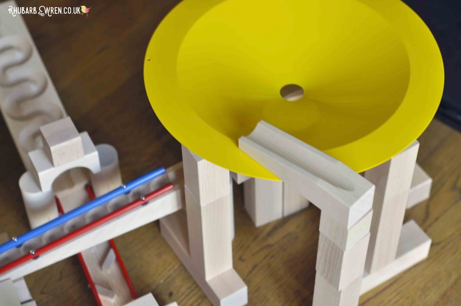 Overhead view of HABA wooden marble run