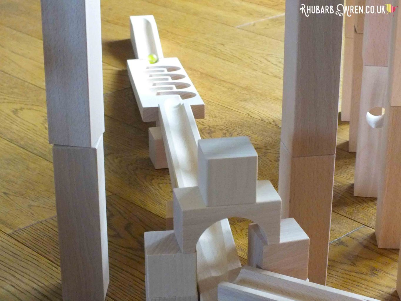 HABA wooden marble run track set up