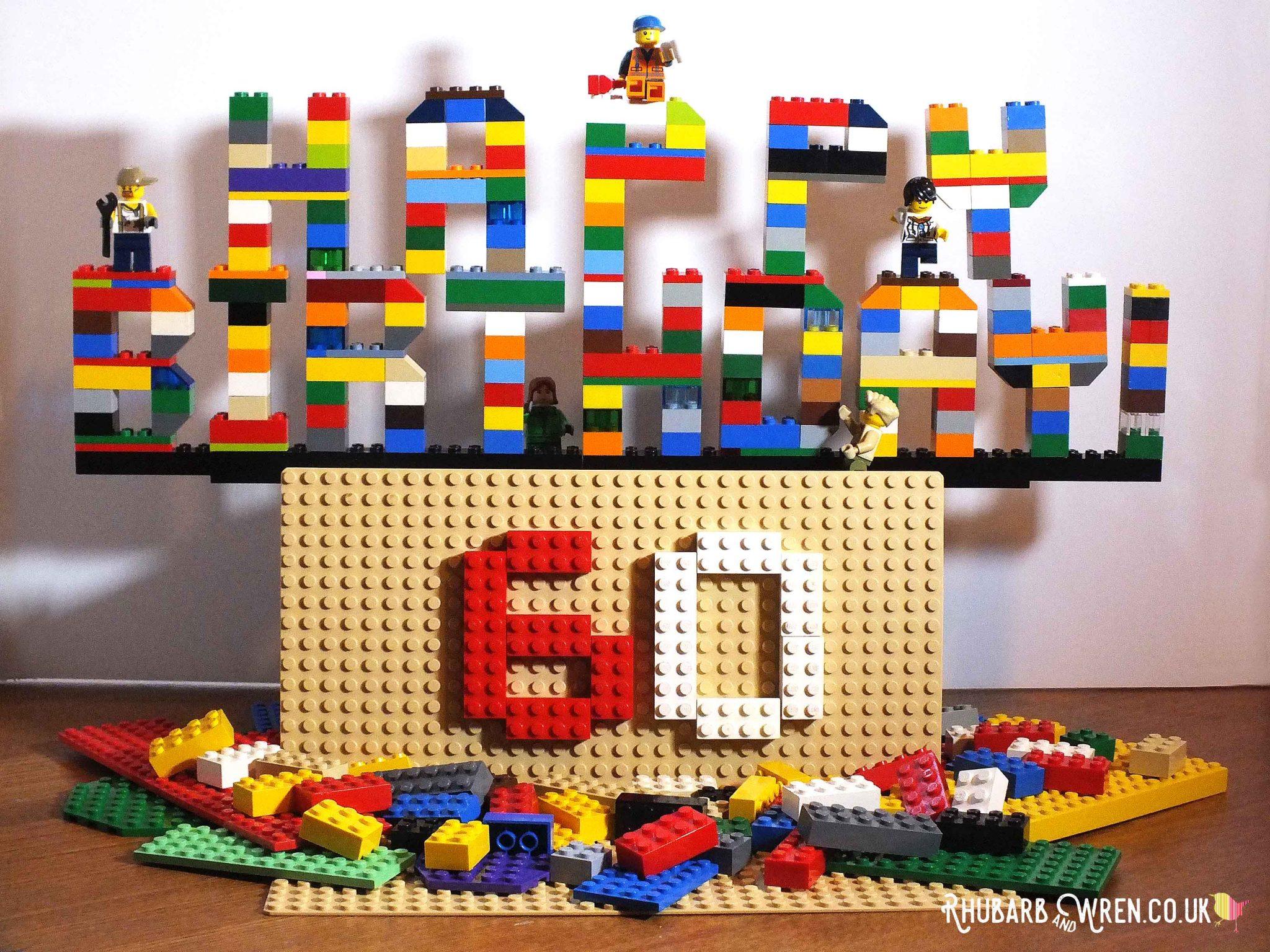 """Happy Birthday"" sign made of lego bricks"