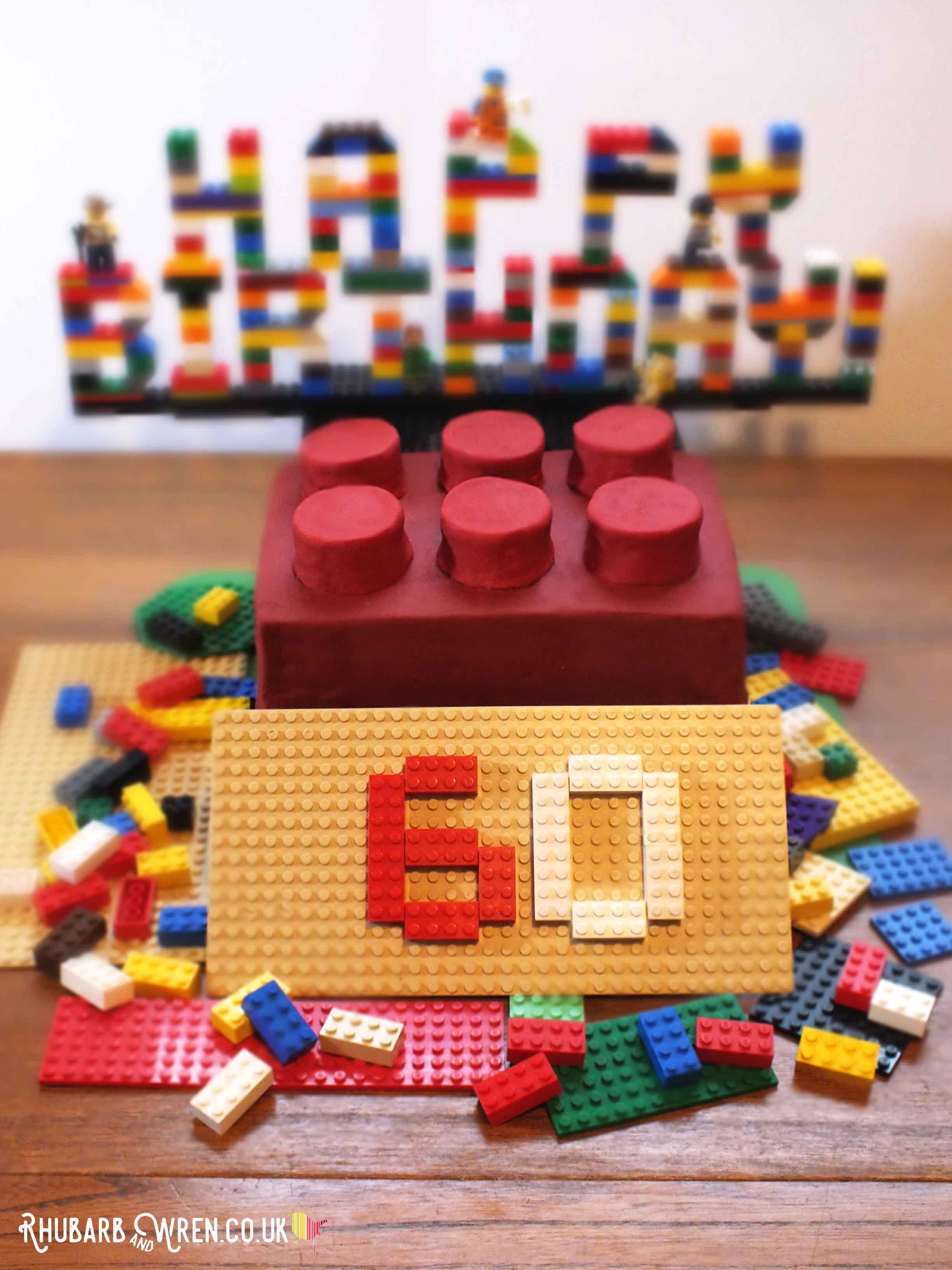 A giant lego brick made of cake