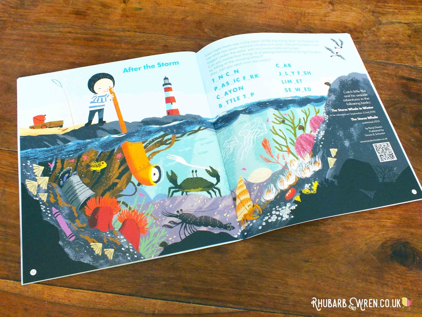 An advertisment spread in Okido magazine, advertising the books 'The Storm Whale' and 'The Storm Whale in Winter'