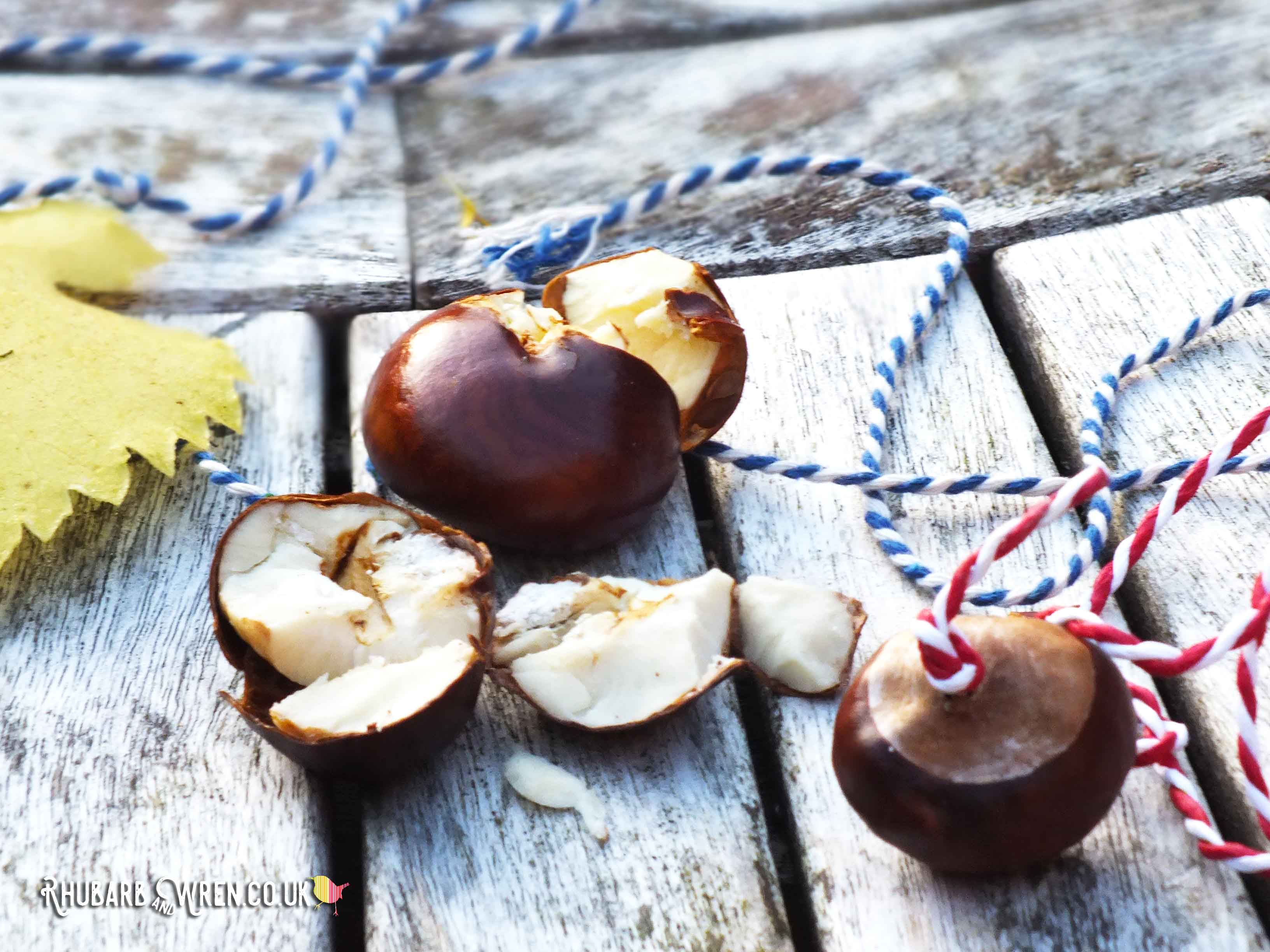 A smashed conker and a whole conker on string