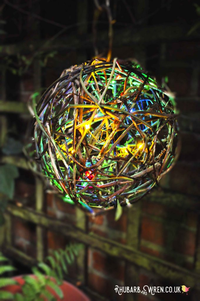 DIY twig ball lantern with multicolour LED fairy lights