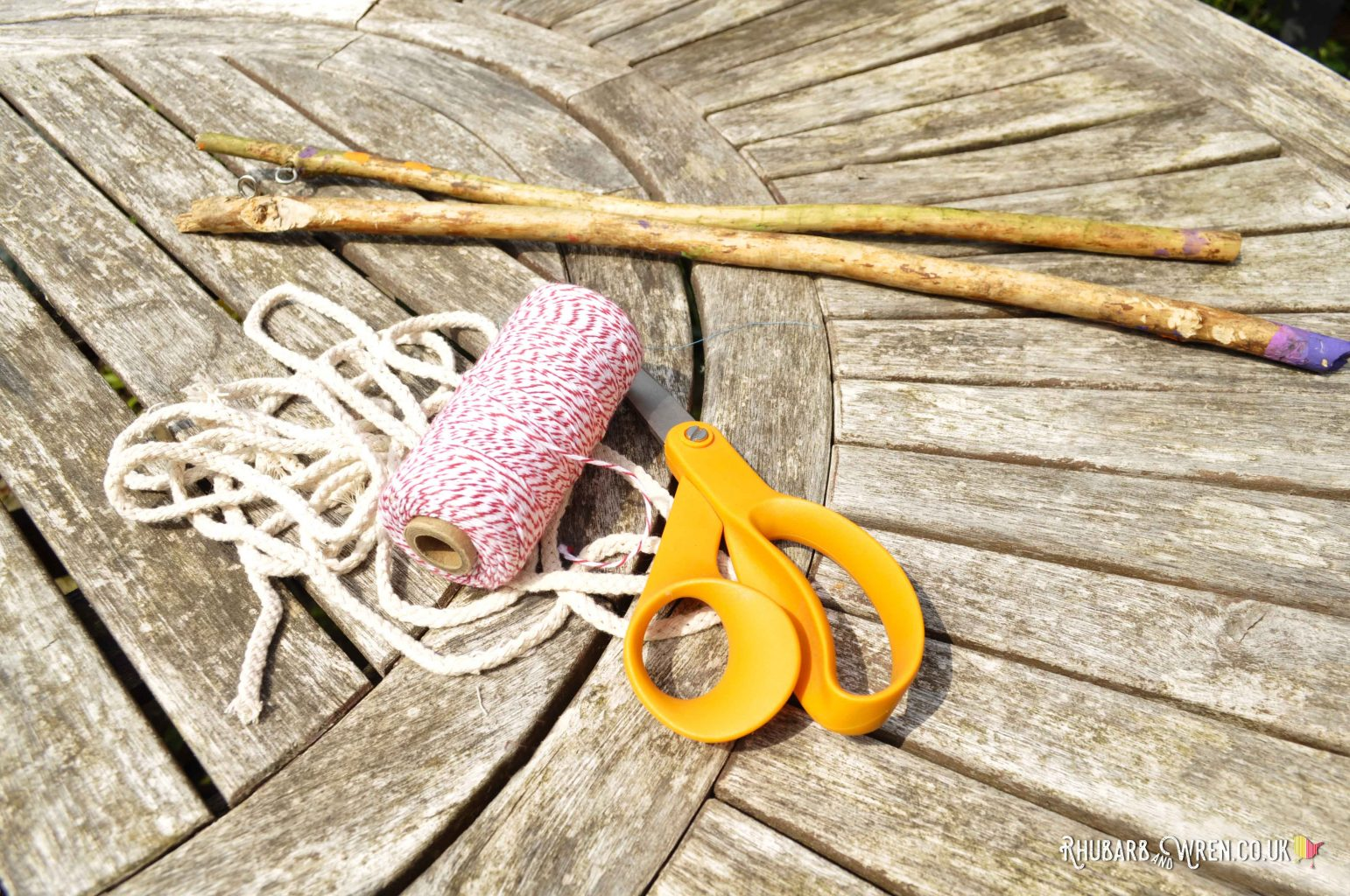 sticks and string for making a garland giant bubble wand
