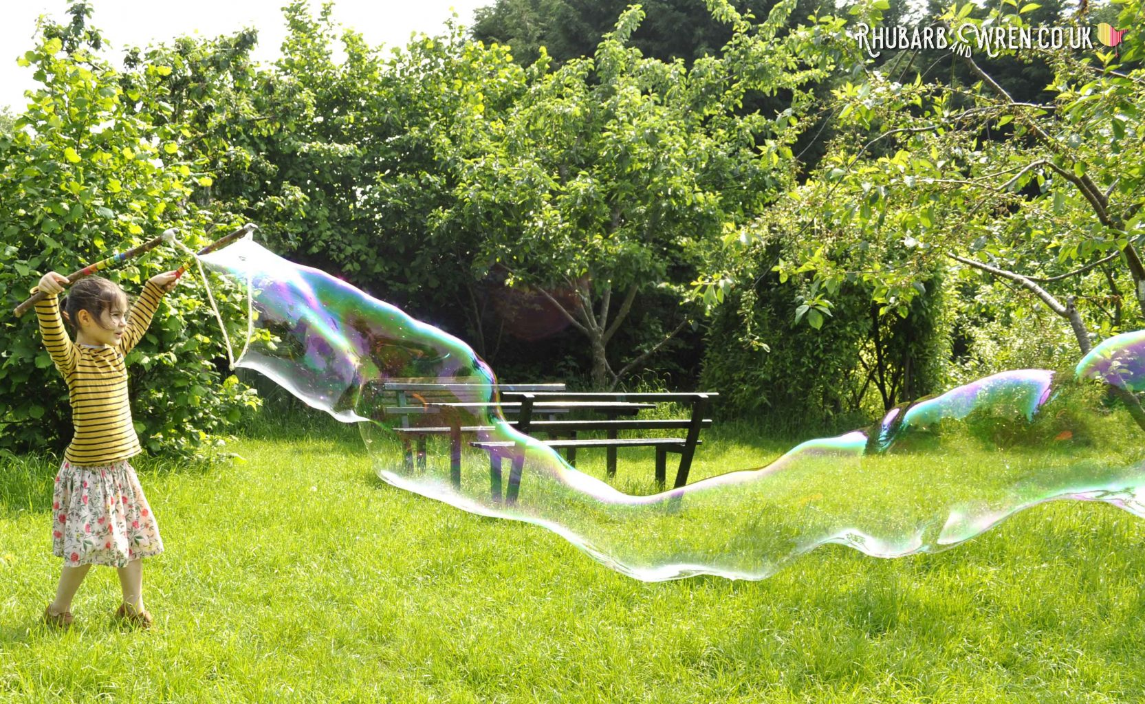 Really long bubble made with diy bubble mix recipe