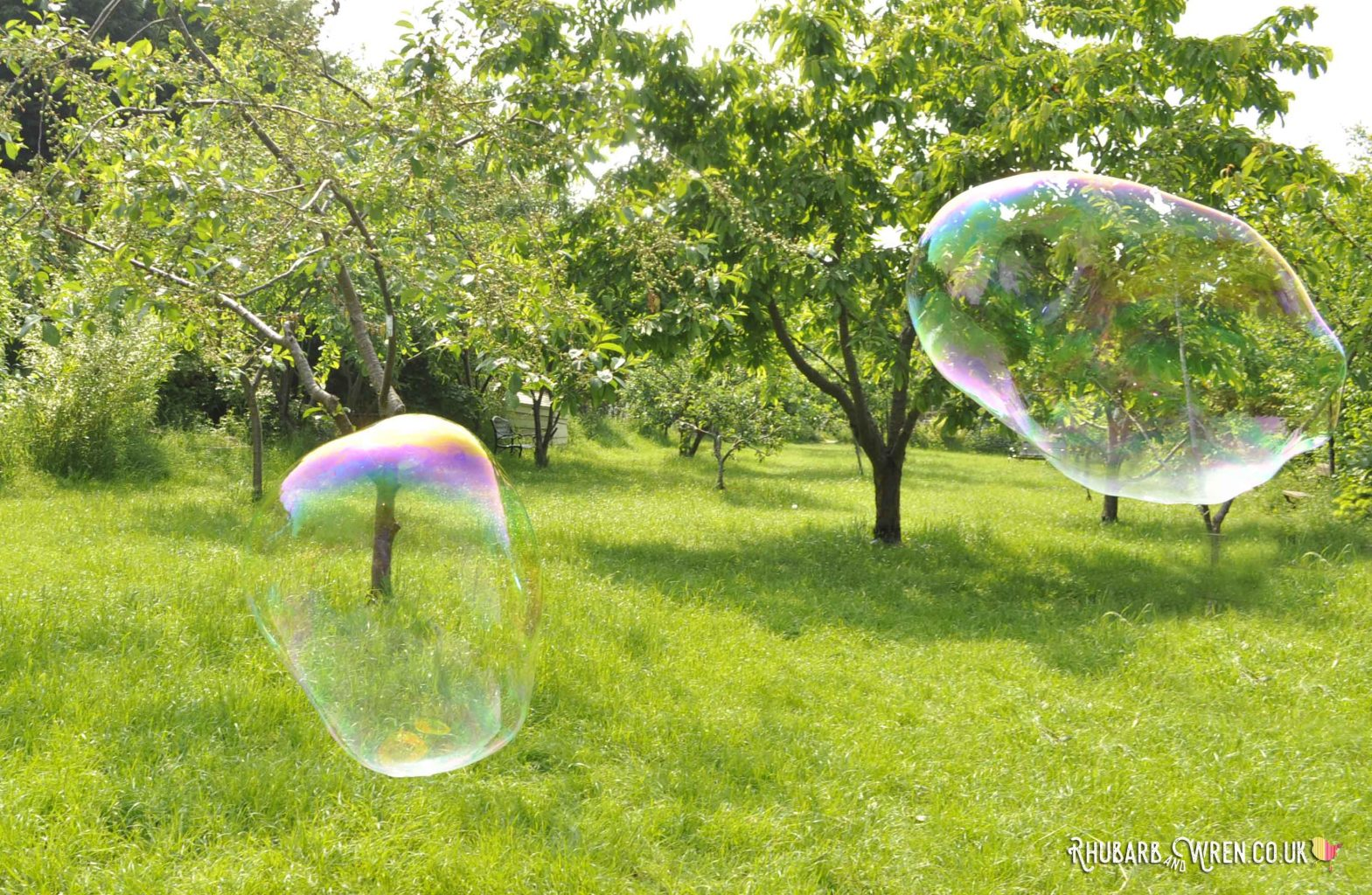 giant bubbles made with diy bubble mix recipe