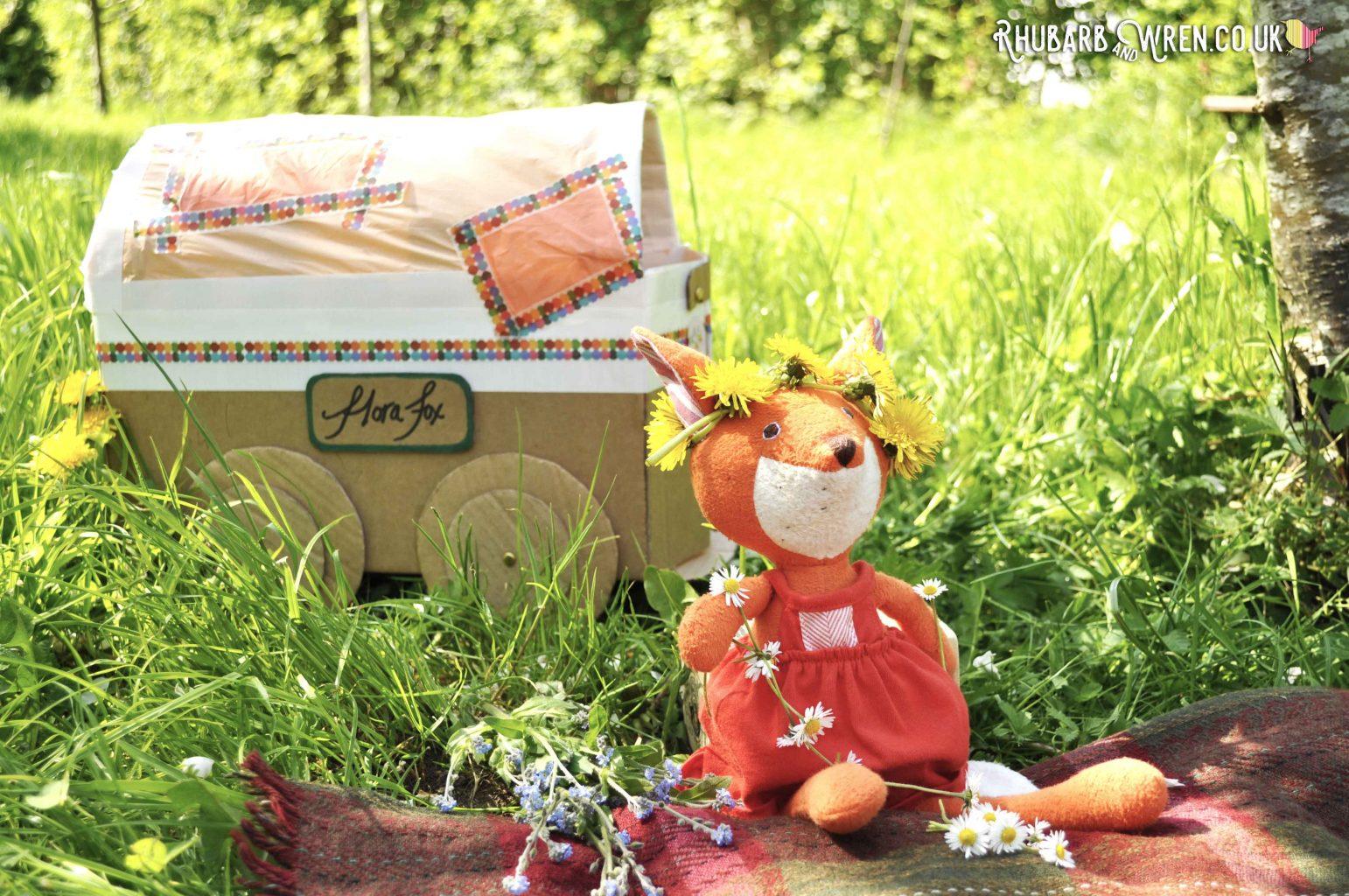 hazel village soft toy - flora fox - DIY gypsy caravan
