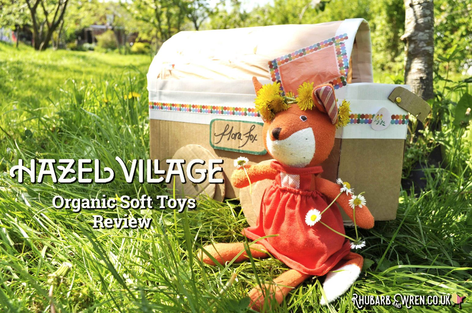 Hazel Village soft toy, Flora Fox, with cardboard gypsy caravan