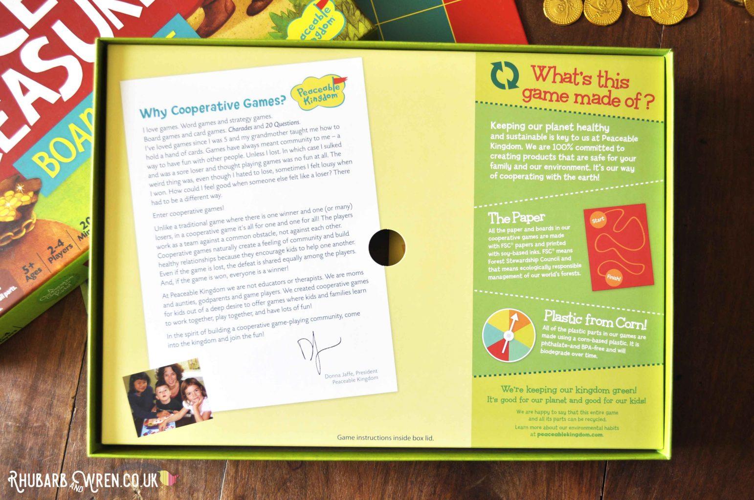 Peaceable Kingdom board game inner box