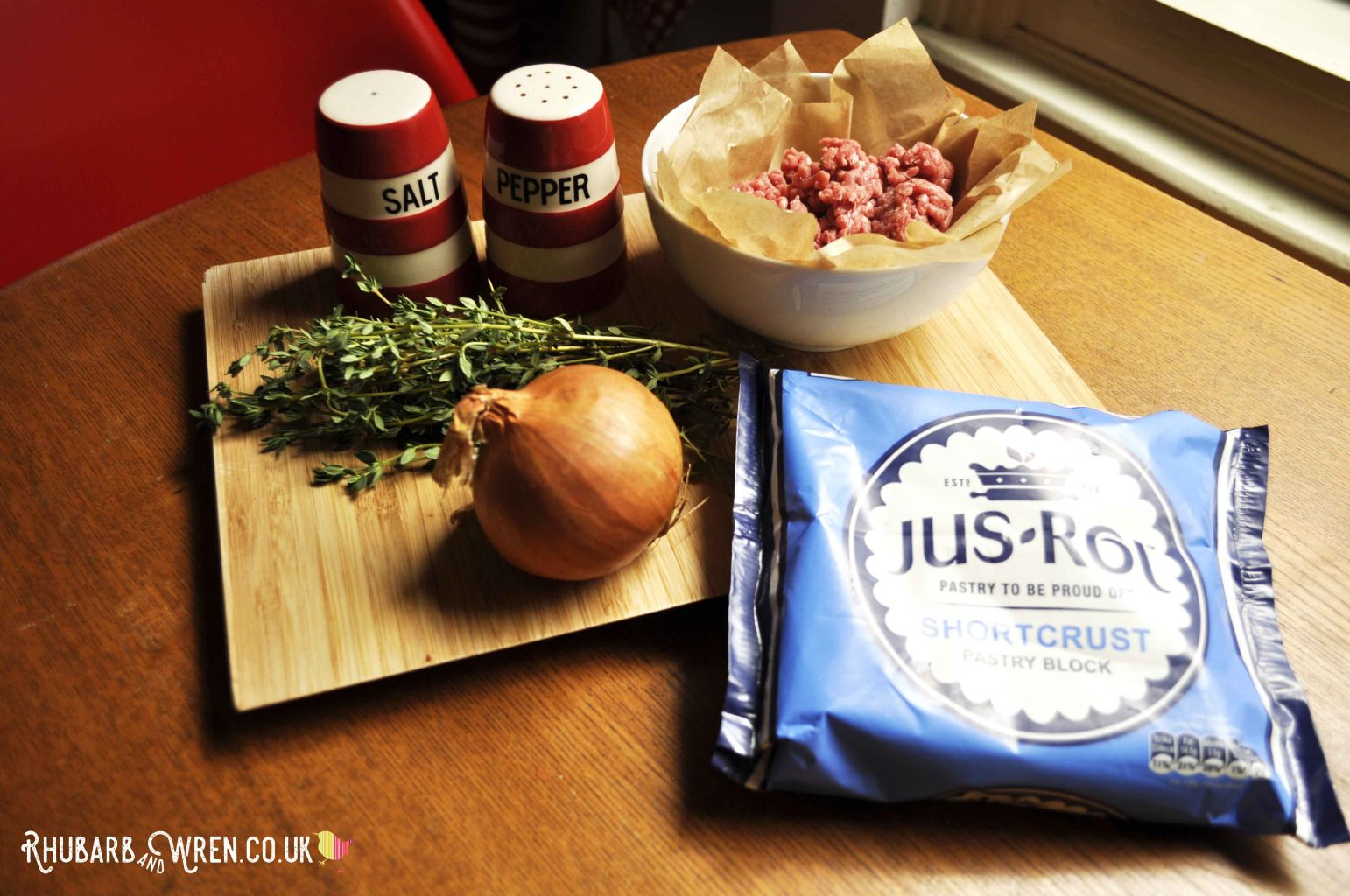Ingredients for making beef rissoles