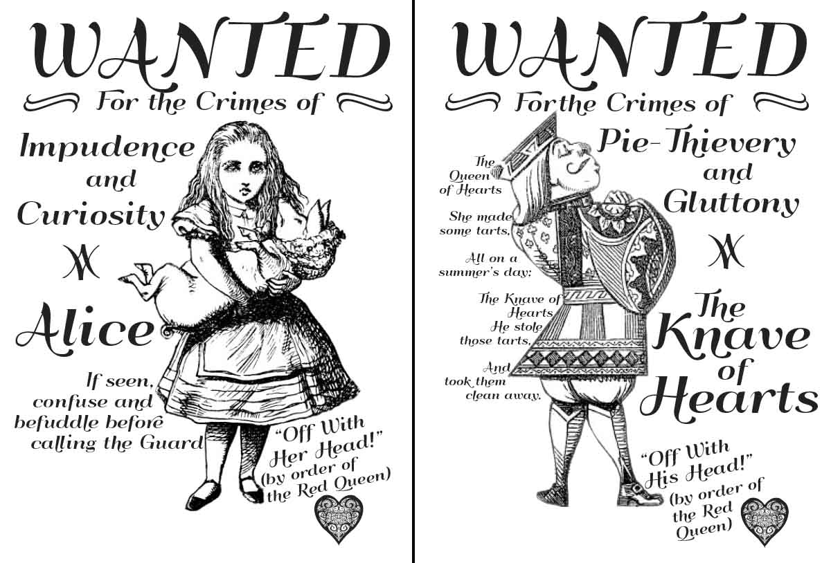 Alice in Wonderland wanted posters