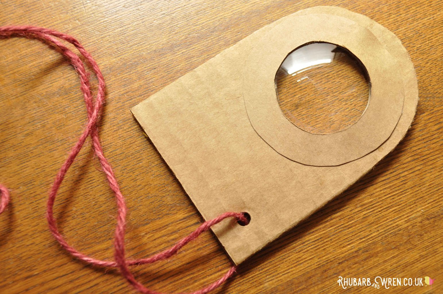 A home-made real magnifying glass made from cardboard