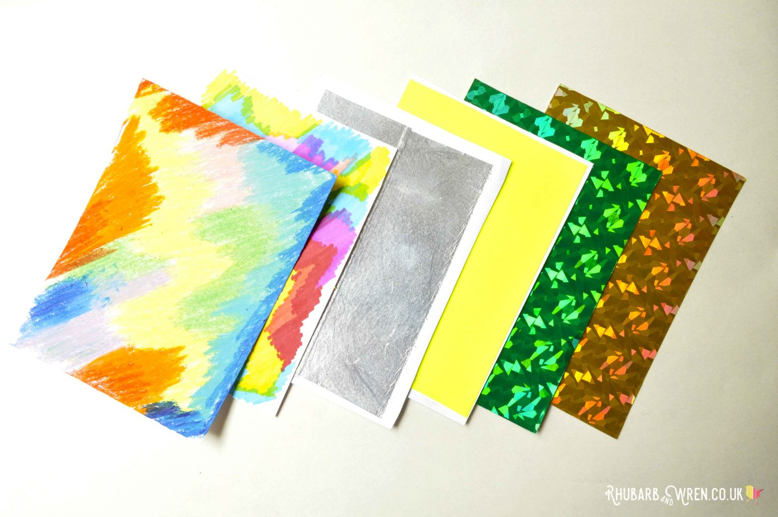 A range of glossy materials for making diy scratch art cards