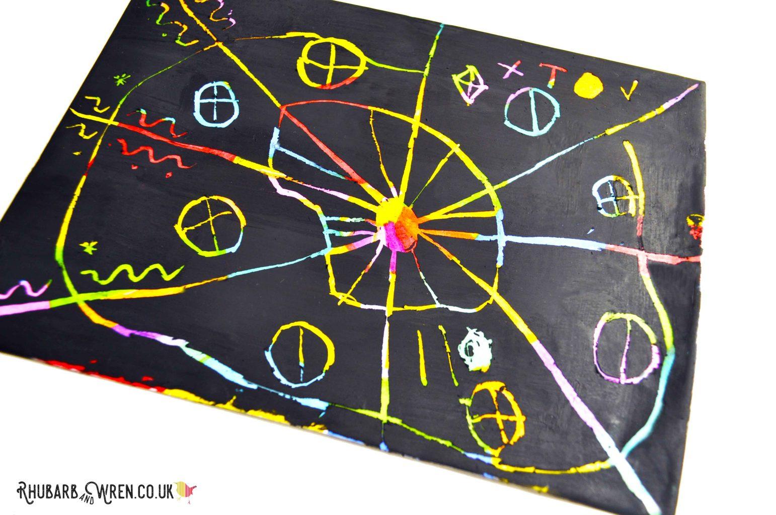 pattern drawn on a diy scratch art card