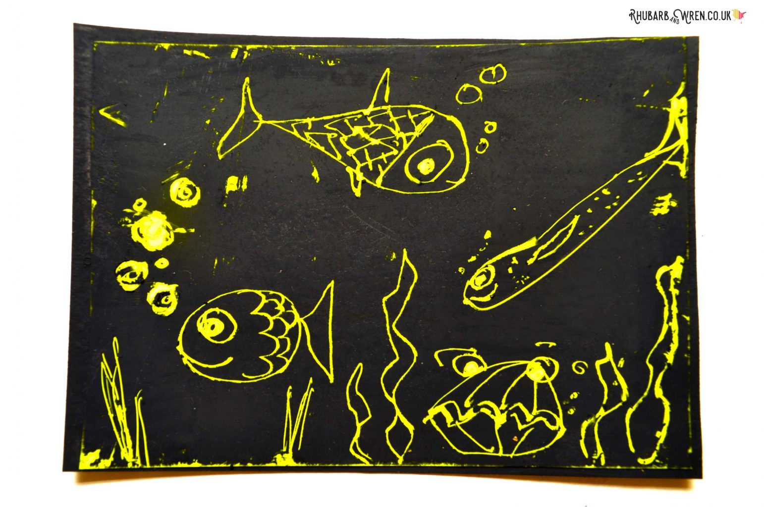 Home-made diy scratch art card made from fluorescent safety tape