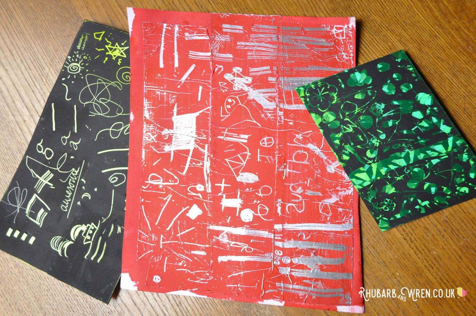 diy scratch art cards made with different materials