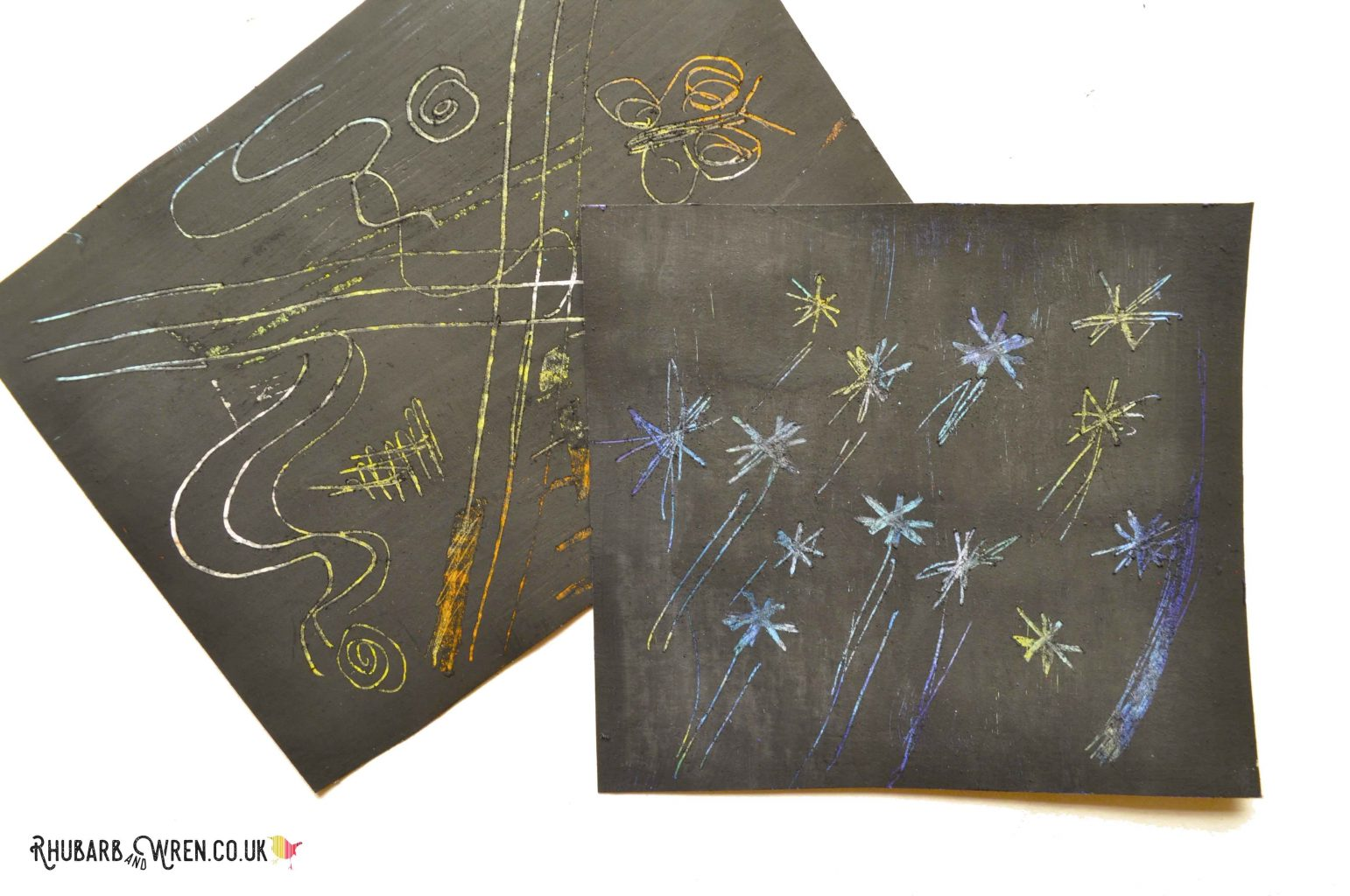 diy scratch art board made using oil pastels