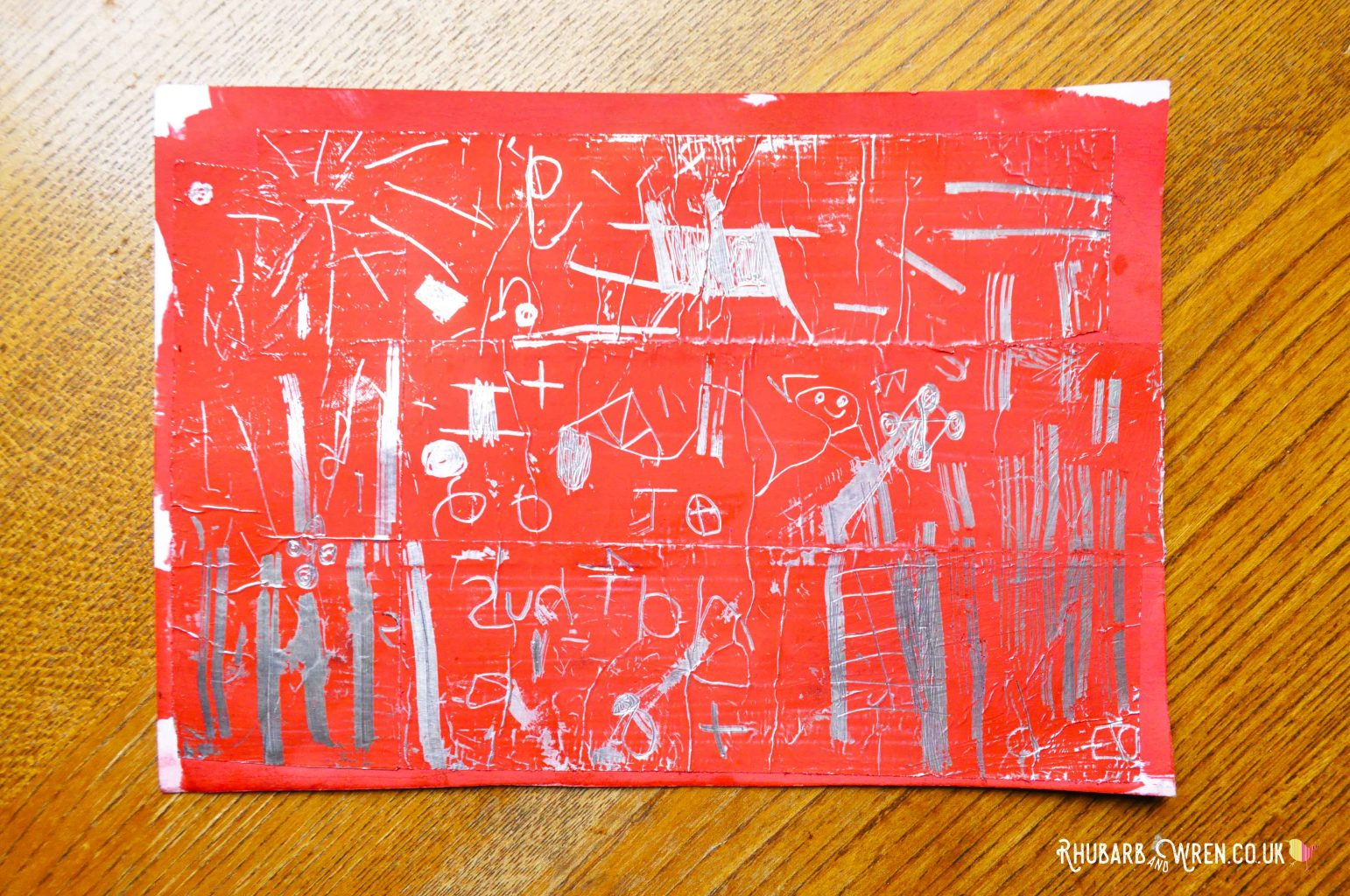 diy scratch art card - red paint on aluminium foil tape.