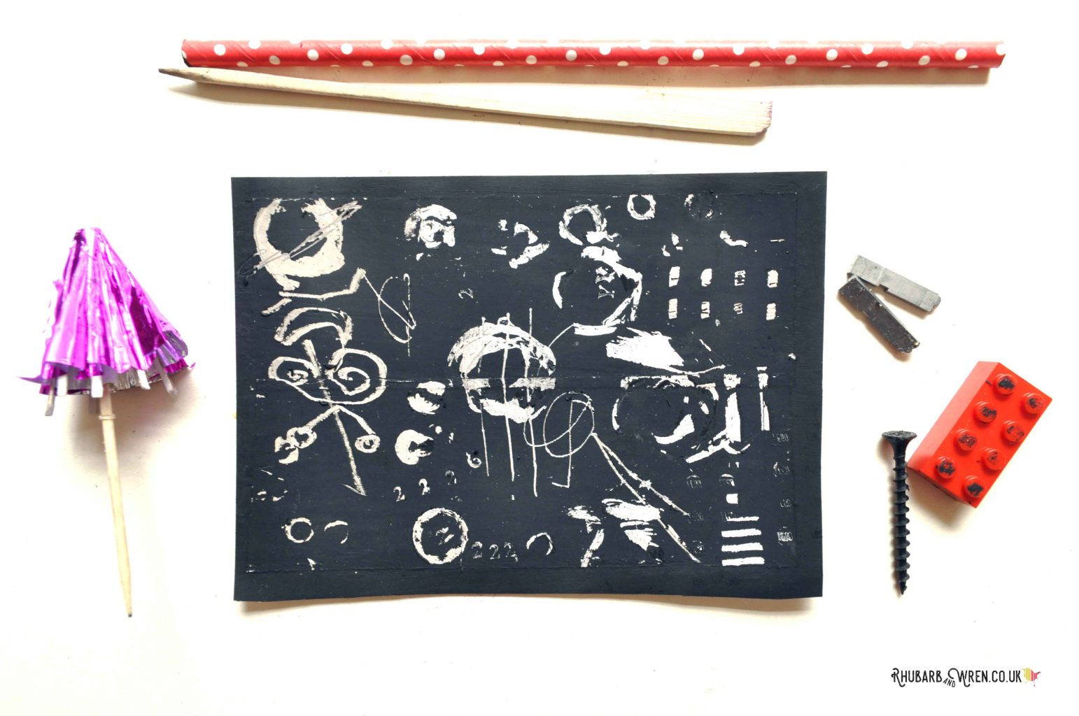 Household objects used as diy scratch art tools
