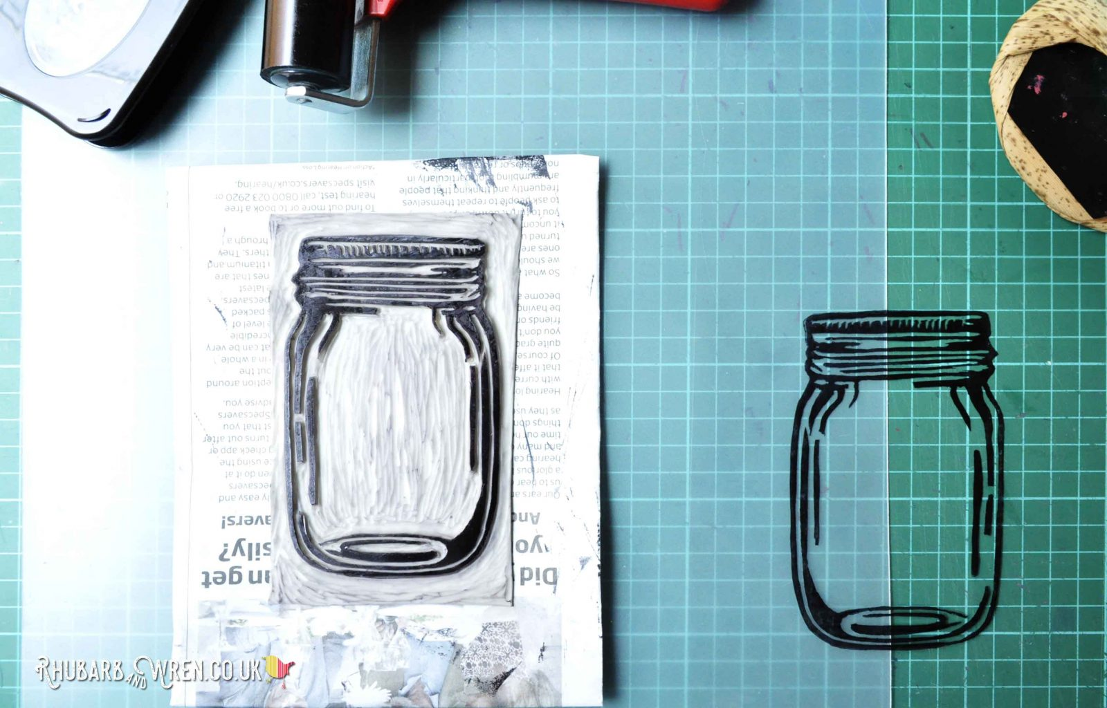 lino print on acetate of mason jar for shaker card