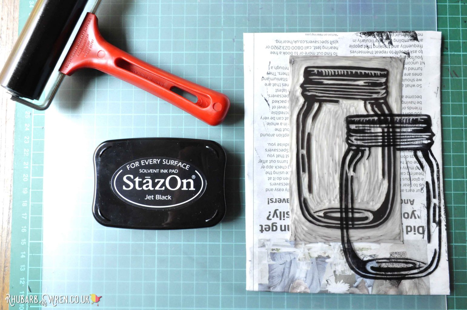 Stazon ink pad and lino print on acetate of mason jar.