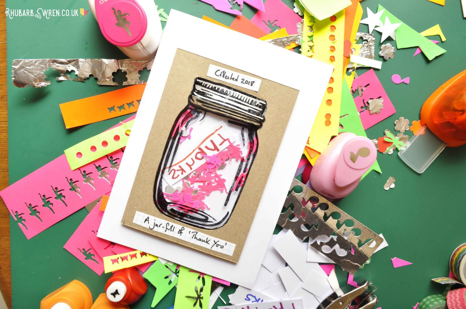 DIY mason jar shaker card filled with ballerina and music note paper cut-outs