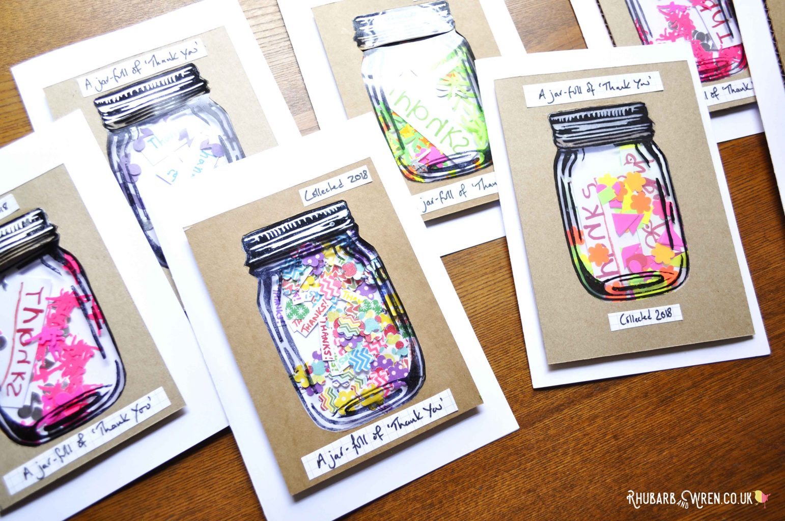 home-made DIY mason jar shaker cards