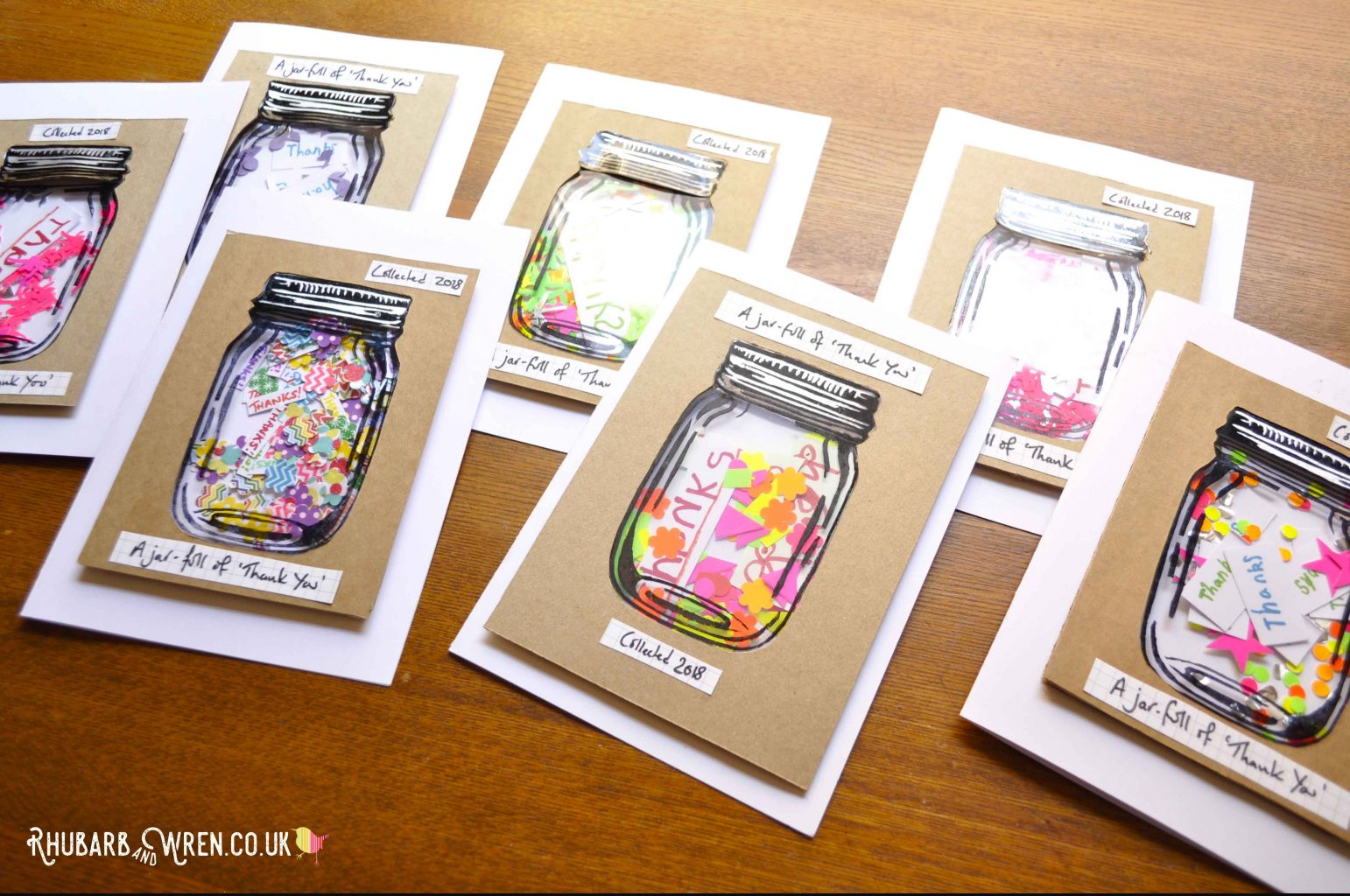 DIY mason jar shaker cards with 'specimen jar' labels