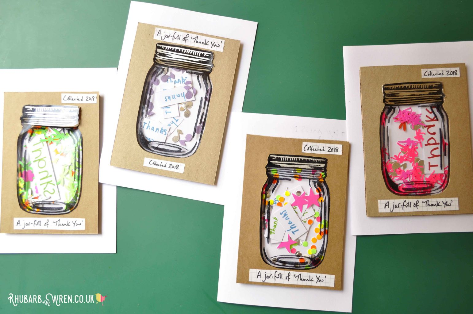 DIY mason jar shaker cards with themed contents