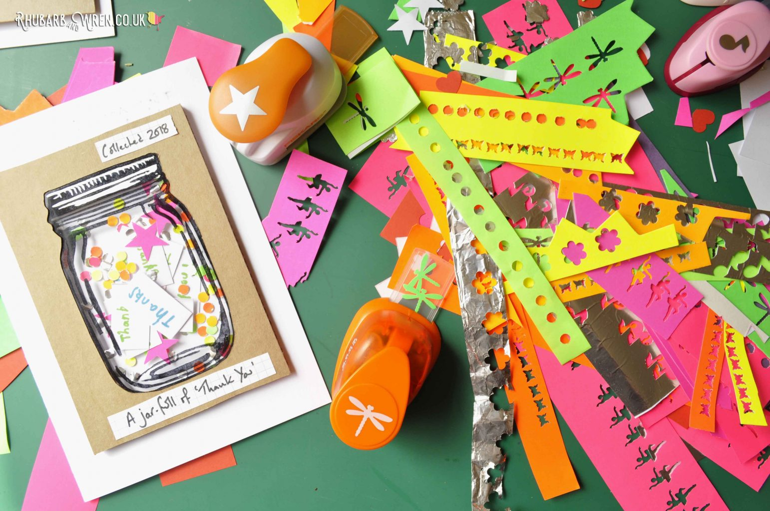 DIY mason jar shaker cards and hand punched paper shapes