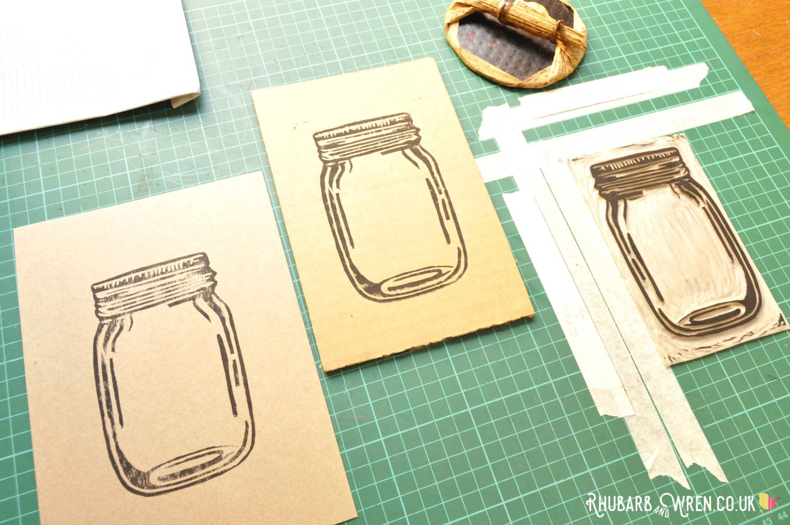 Mason jar shaker card in progress - image on card.